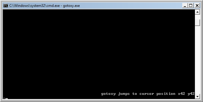 gotoxy example output in cmd