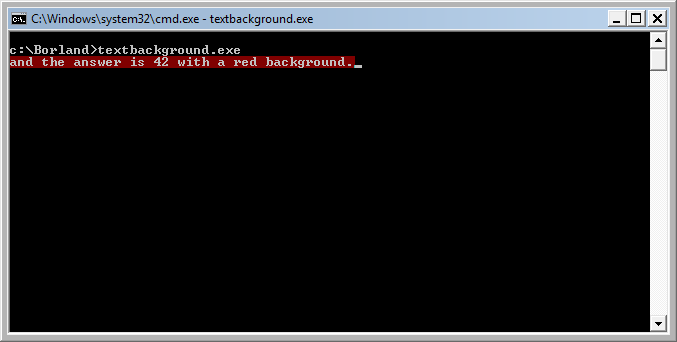 textbackground example output in cmd